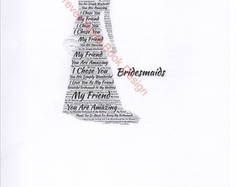 Bridesmaid word art framed