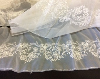 White Rayon Embroidered Florals on Nylon Mesh