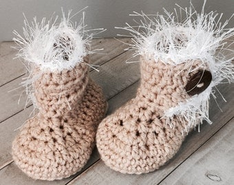 Crochet Baby Bootie with Fur