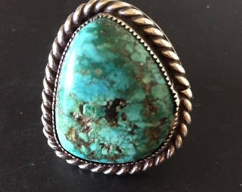 Vintage Turquoise Ring, Old Silver Jewelry, Native American Ring, Handmade Turquoise Silver Ring, Southwest Indian Jewelry, Old Jewelry