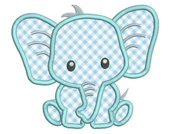 Baby Elephant Applique Embroidery Design, Cute Elephant Machine Embroidery, 4x4, 5x7, Baby Embroidery, Instant Download Design No: A545-1