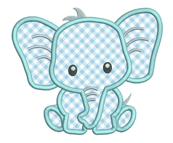 Baby elephant applique embroidery design cute