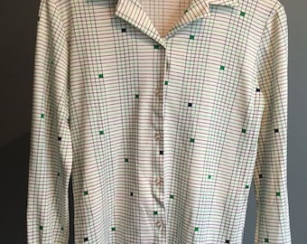 Vintage, 1970, Long Sleeve Button Up, Blue/green pattern, Small