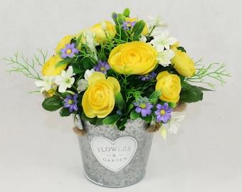 Silk Yellow Ranunculus in Zinc Bucket, Artificial Flowers in Vase