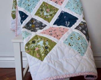 Quilted vintage look Baby Blanket - Deer