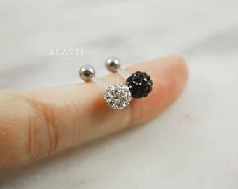Crystal Ball Piercing - Silicone Bar / Cartilage earring/Tragus/CZ Stud/Helix/conch