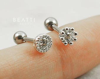 Sparkly CZ piercings [2 styles] /Cartilage Earrings/,Helix stud, tragus stud, conch, barbell, cz stud, tiny tragus stud