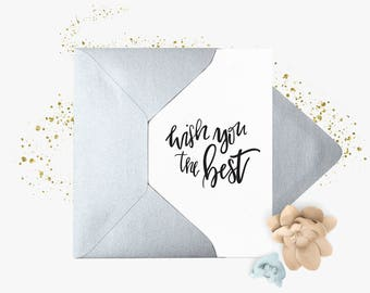 Greeting card | Wish You The Best. Best wishes | A6 folded card | Silver envelope. Folded Greeting Card + Silver envelope
