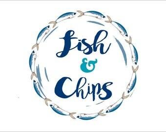 Premade Pop art logo. Premade logo. Premade Fish and chips logo. Business marketing logo.