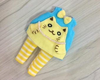 Dress for BJD Dolls Lati Yellow/PukiFee bjd Hand embroidery cat Blue-Yellow