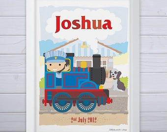 Personalised Little Train Print