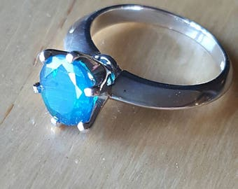 Blue opal and silver ring. Size 6.5