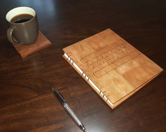 Cherry Hardwood Cover Journal with Chicago Flag engraved on the cover