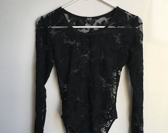 Vintage black lace bodysuit size M/L