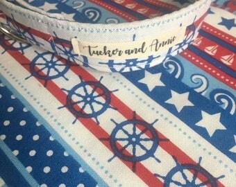 Custom Handmade Dog Collar and Matching Bandana in 'Seas & Stripes'