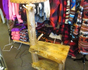 Rustic End Table, Rustic night stand, End table, wood table, small table, Floor Lamp, Log Lamp, End table with lamp, Night stand with lamp
