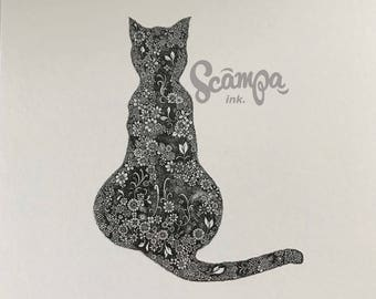 Original hand drawn, ink print illustration of a beautifully detailed cat. Framed