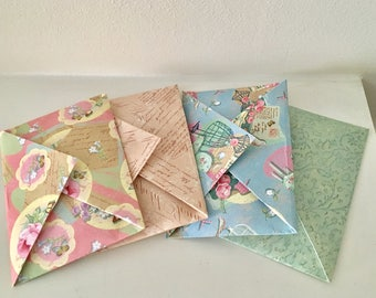 Origami Vintage Wedding Favour Envelopes Shabby Chic - Pinks & Greens