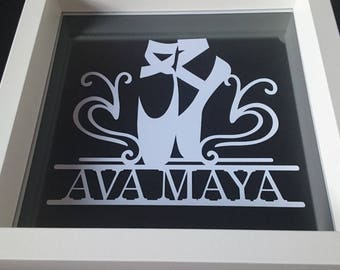 Personalised Ballerina Ballet Shoes Papercut Picture Gift