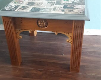 Vintage postcard coffee table reduced price