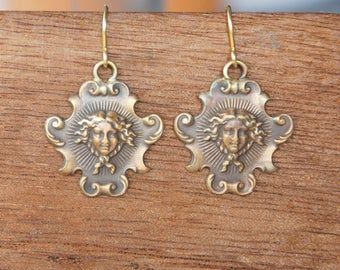 Antique Style French Brass Earrings Sun King Louis XIV Versailles