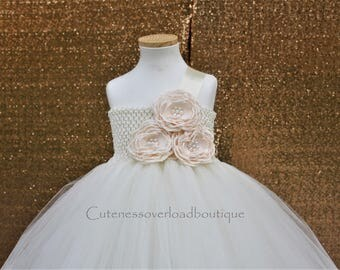Ivory Flower Girl Tutu Dress-Ivory Tutu Dress-Ivory Tutu.Flower Girl Tutu Dress-Wedding Tutu Dress-Birthday Dress.