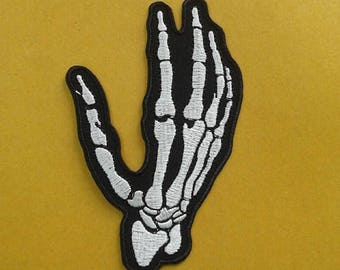 Skull Skeleton Hand Bone Iron on Patch.