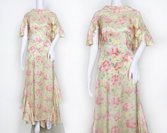 1930s Floral Satin Ruffle Back Dress