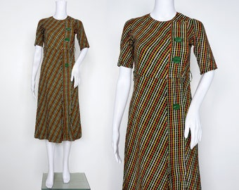 Late 1930s Orange and Green Checked Day Dress