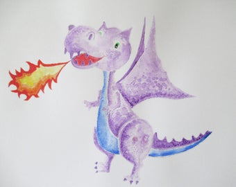 Dray Purple the Dragon, watercolour painting