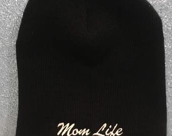 Embroidered Beanie with Mom Life