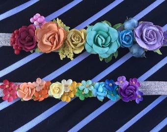 Rainbow flower crowns