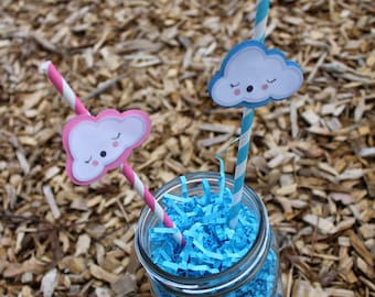 CLOUD STRAWS, baby shower straws, birthday straws, party straws, straws, blue straws, pink straws, paper straw, centerpieces, party