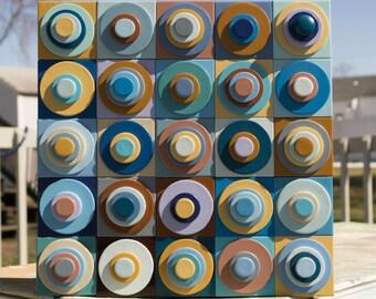 Blue Wall Art, Abstract Wall Art, FREE SHIPPING, Modern Wood Art, Reclaimed Wood, Wood Sculpture, Geometric Art, Mixed Colors, Tans, Circle