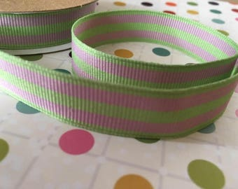 Mint & Pink Stripe Grosgrain ribbon, 15mm wide, by 1m length