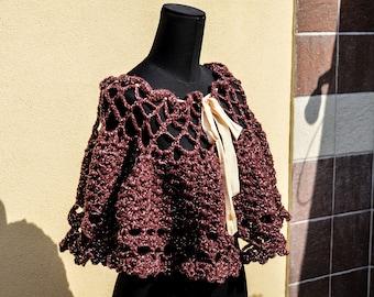 Crocheted poncho handmade elegant Burgundy