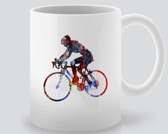 Woman Bicycle Mug Print Art Ceramic Mug