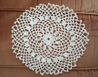 White crochet doily round cotton