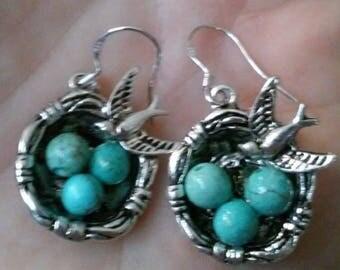 Bird's Nest Natural Genuine Turquoise Earring's~December Birthstone, Robin Earring's