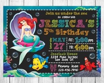 Little Mermaid Invitation, Little Mermaid Birthday, Little Mermaid Invites, Little Mermaid Party, Little Mermaid Printable, Custom, Evite