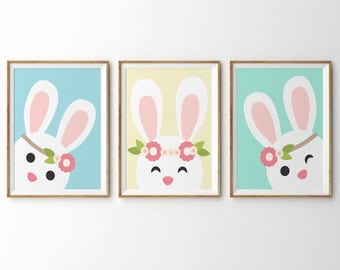 girl nursery decor, printable wall art set, art print set, printable set, wall art set of 3, girl nursery wall art, animal art print, rabbit