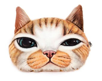 15 in. 3D Orange Tabby Cat Cuddle Pillow, Cat Cushion, Free Shipping