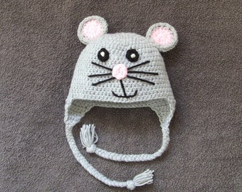 FREE P&P TO UK - Kids-Adults Hat, Mouse Hat, Handmade Hat, Animal Hat, Baby Hat, Toddler Hat, Kids Hat, Teen Hat, Adult Hat, Crochet Hat