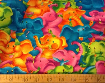 28 inches of Colorful elephants cotton fabric