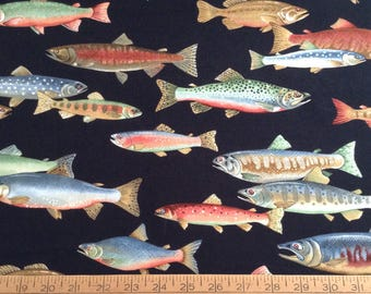 Fish cotton fabric by the yard