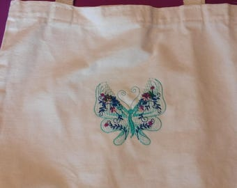 Embroidered Canvas Butterfly Bag