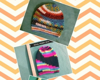 Colorful crochet beanies
