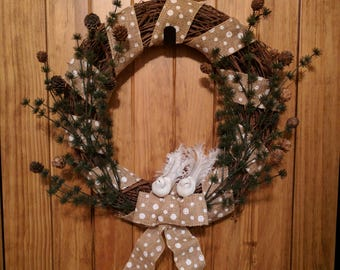 Rustic Snow-Birds 18 inch Grapevine Wreath Flanked with Pine Branches & Pinecones