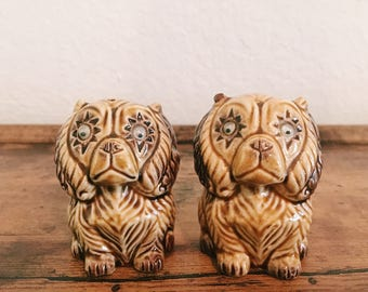 Vintage Dog Salt + Pepper Shakers, Puppies, Made in Japan