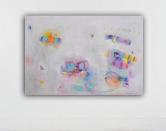large abstract painting, original abstract painting , large wall art, gray,white, acrylic on canvas, 32x48 inches,